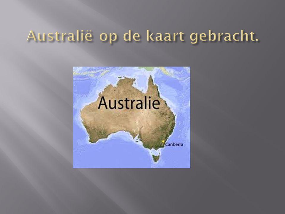 Australië op de kaart gebracht.