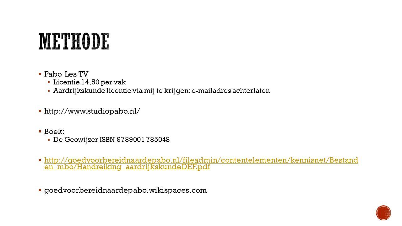Methode Pabo Les TV http://www.studiopabo.nl/ Boek: