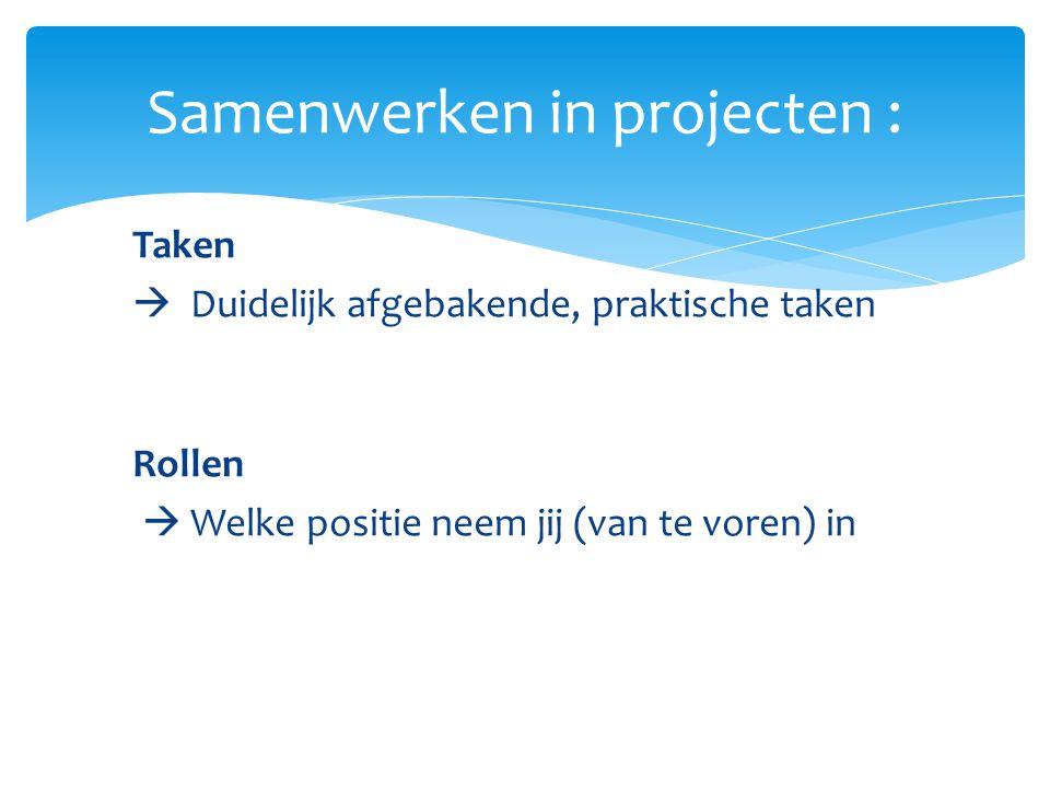 Samenwerken in projecten :
