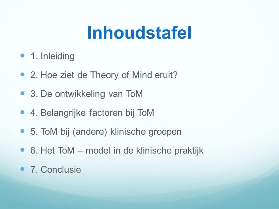 Inhoudstafel 1. Inleiding 2. Hoe ziet de Theory of Mind eruit
