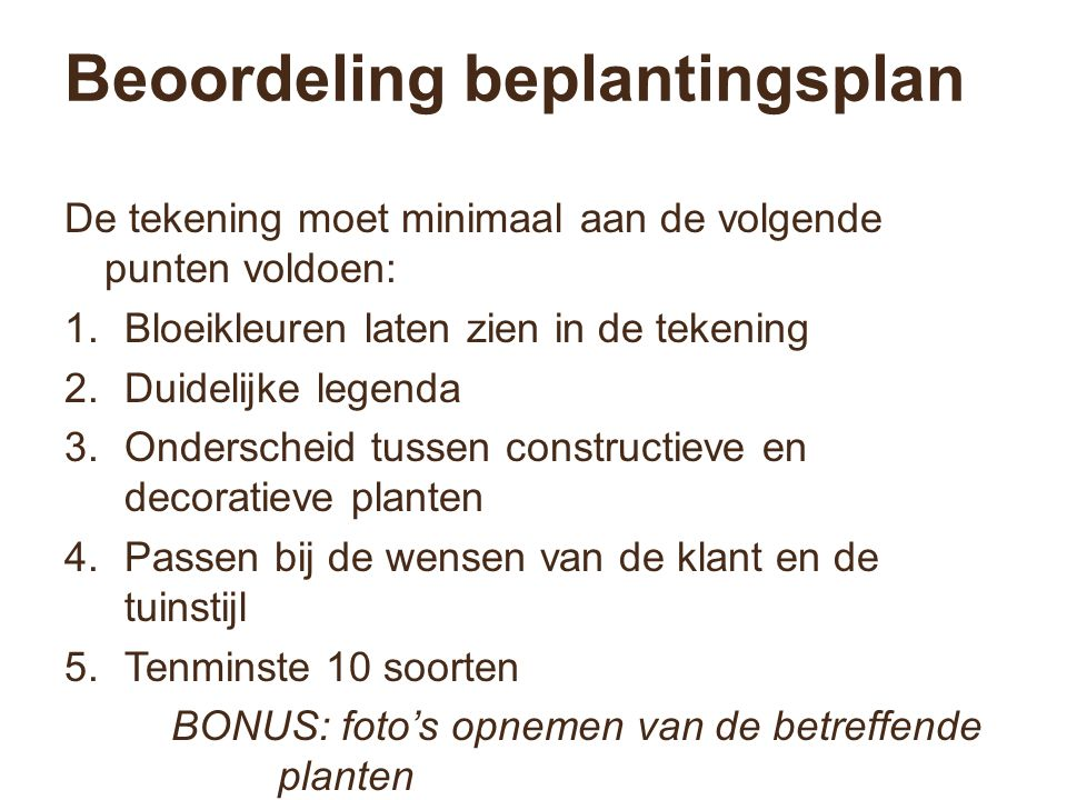 Beoordeling beplantingsplan