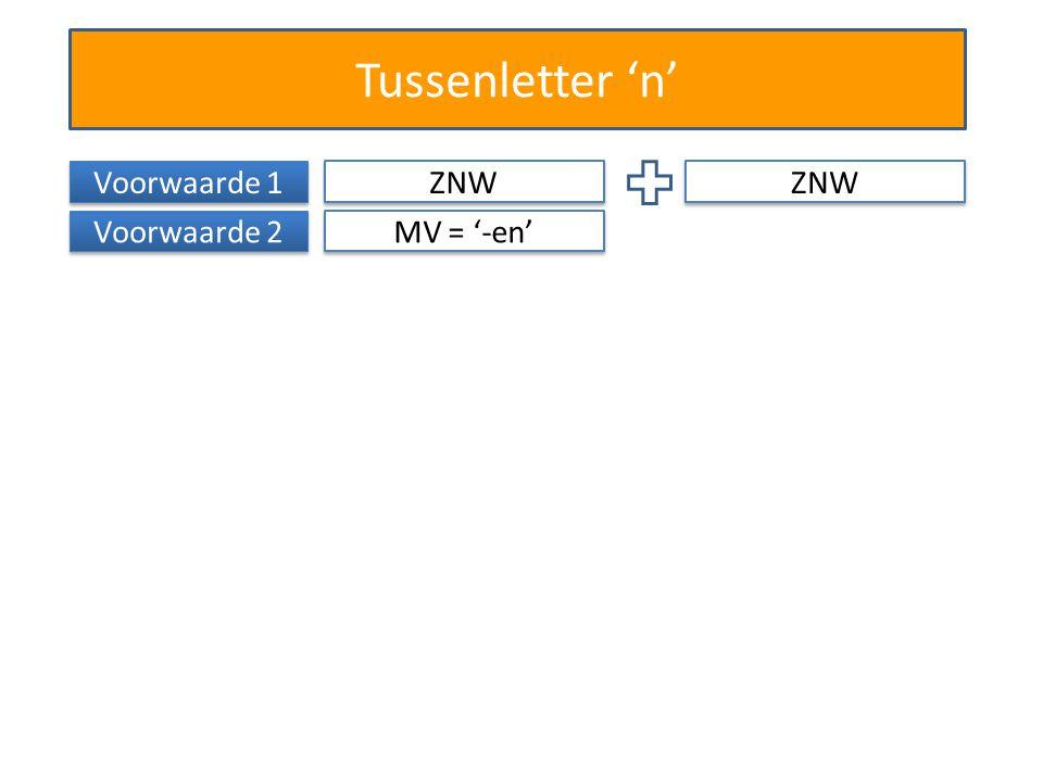 Tussenletter 'n' Voorwaarde 1 ZNW ZNW Voorwaarde 2 MV = '-en'