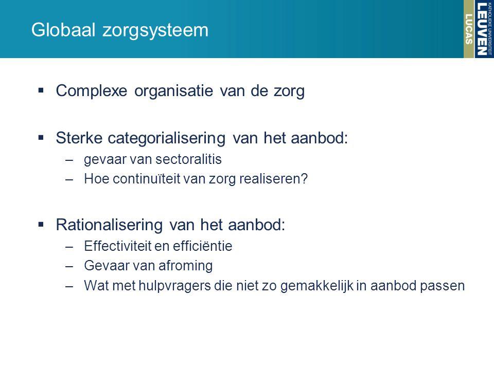 Globaal zorgsysteem Complexe organisatie van de zorg