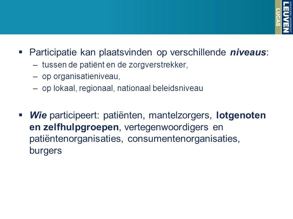 Participatie kan plaatsvinden op verschillende niveaus: