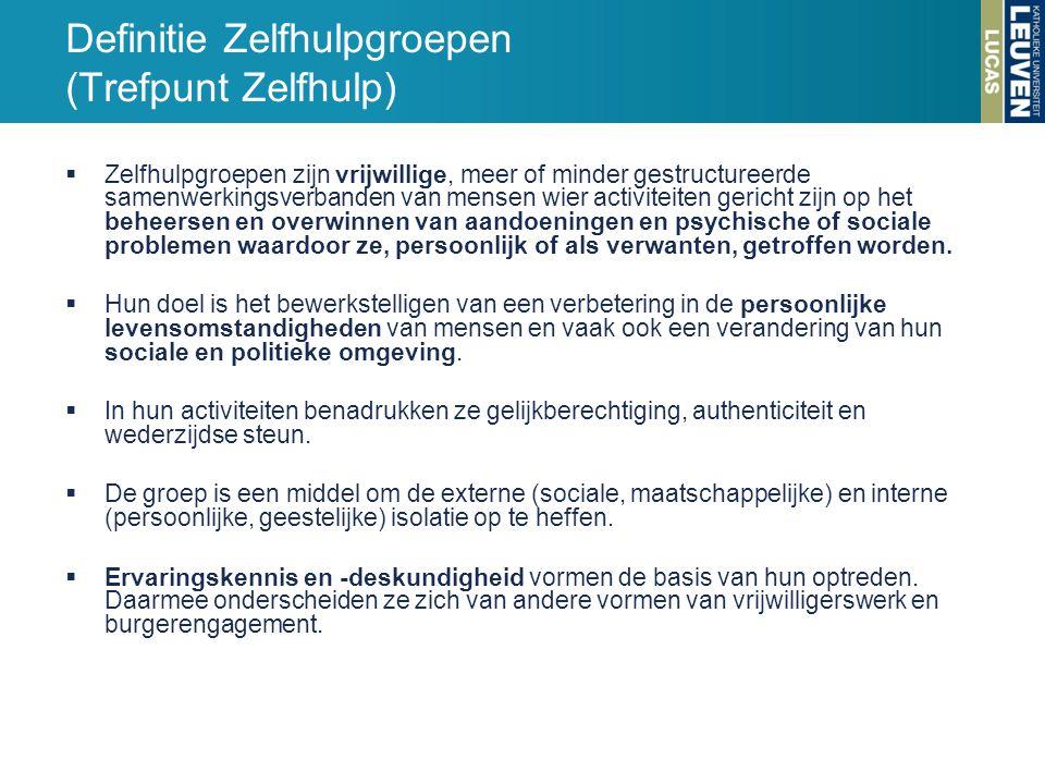 Definitie Zelfhulpgroepen (Trefpunt Zelfhulp)