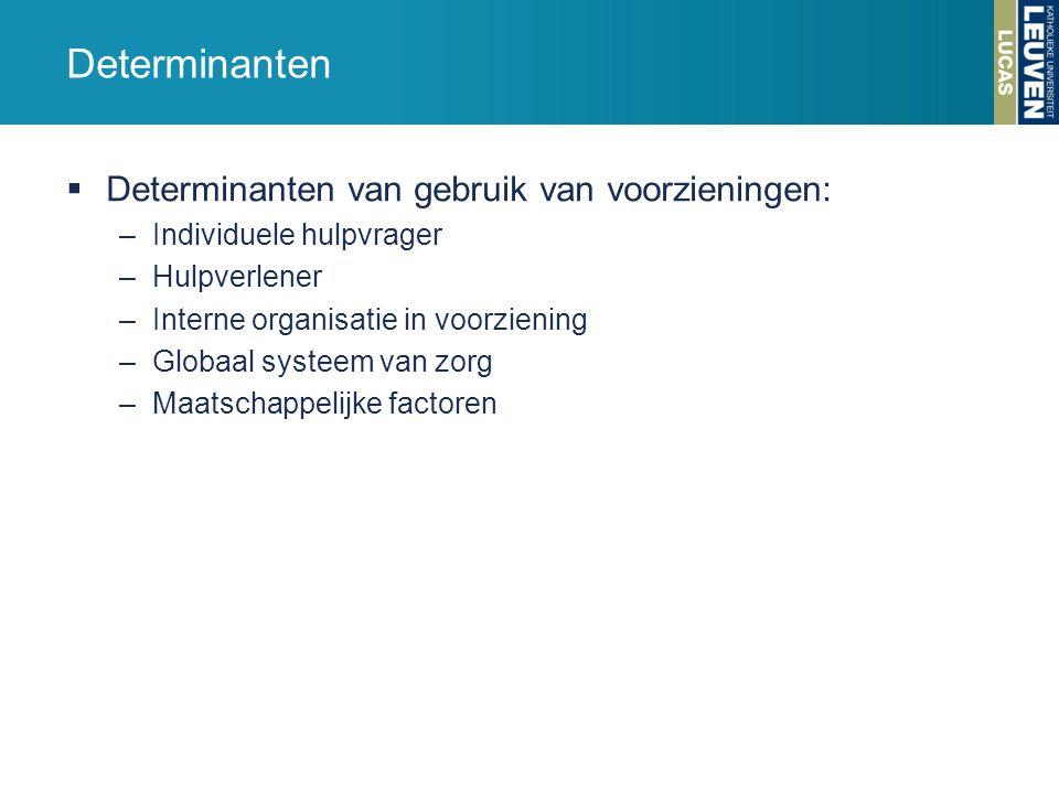 Determinanten Determinanten van gebruik van voorzieningen: