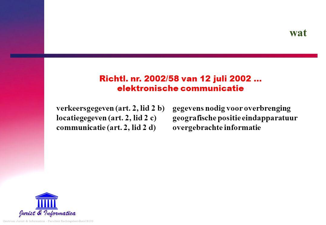Richtl. nr. 2002/58 van 12 juli 2002 … elektronische communicatie