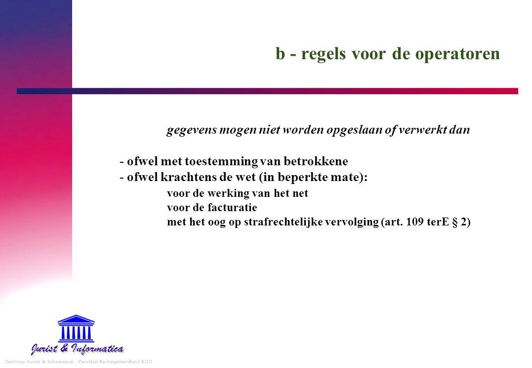 b - regels voor de operatoren