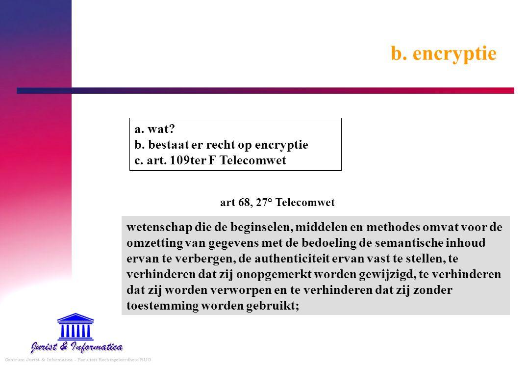 b. encryptie a. wat b. bestaat er recht op encryptie c. art. 109ter F Telecomwet. art 68, 27° Telecomwet.