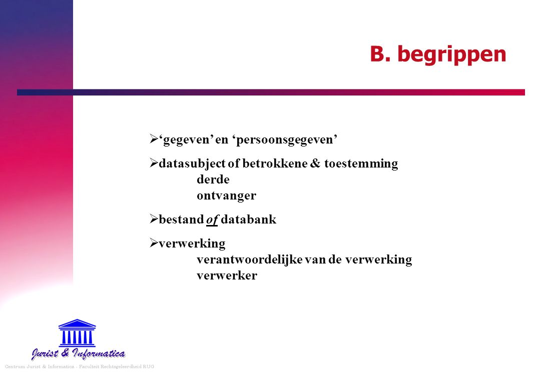 B. begrippen 'gegeven' en 'persoonsgegeven'