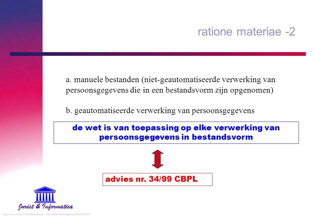 ratione materiae -2 a. manuele bestanden (niet-geautomatiseerde verwerking van persoonsgegevens die in een bestandsvorm zijn opgenomen)