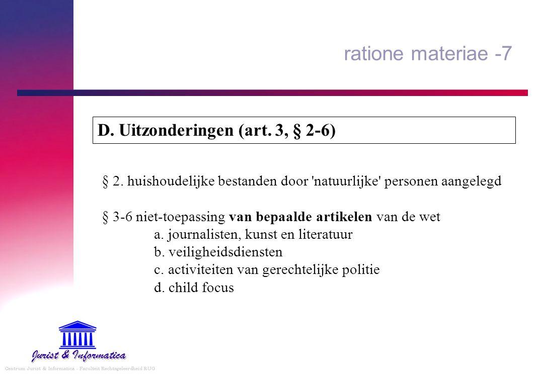 ratione materiae -7 D. Uitzonderingen (art. 3, § 2-6)