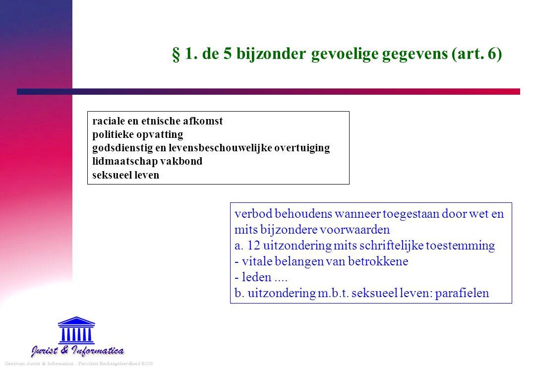 § 1. de 5 bijzonder gevoelige gegevens (art. 6)