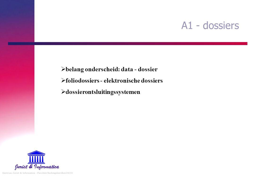 A1 - dossiers belang onderscheid: data - dossier