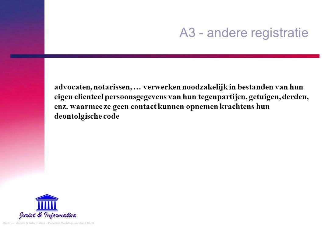 A3 - andere registratie