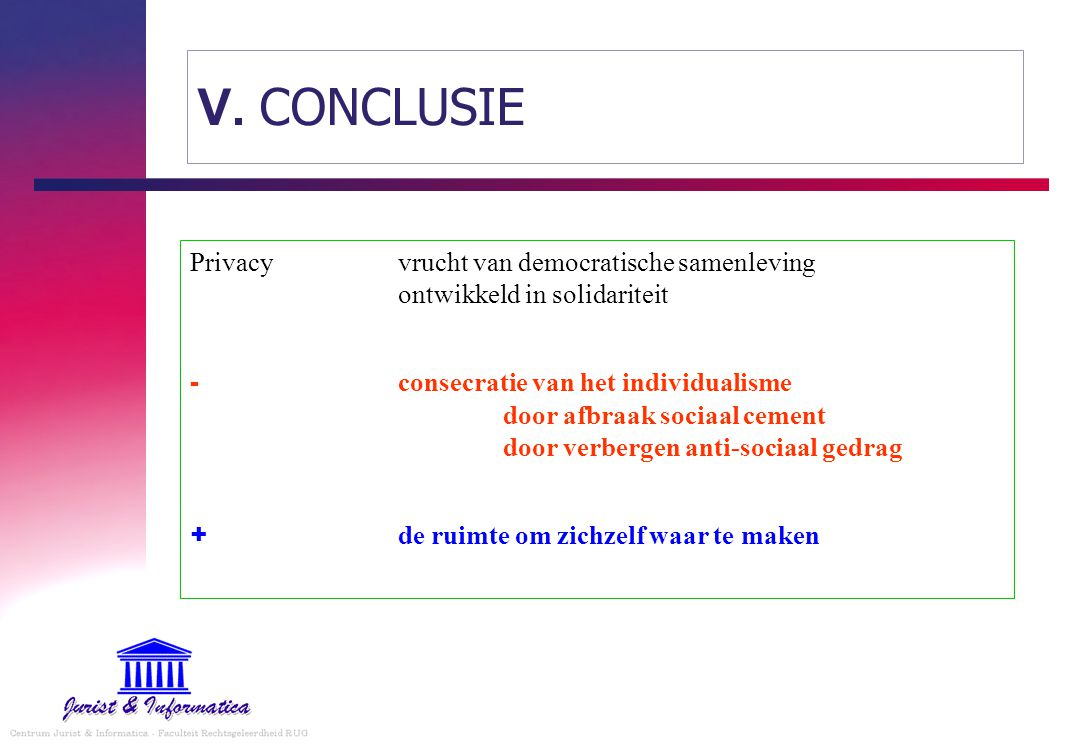V. CONCLUSIE Privacy vrucht van democratische samenleving ontwikkeld in solidariteit.