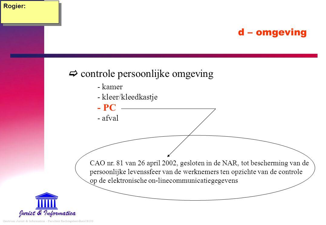 Rogier: d – omgeving.  controle persoonlijke omgeving - kamer - kleer/kleedkastje - PC - afval.