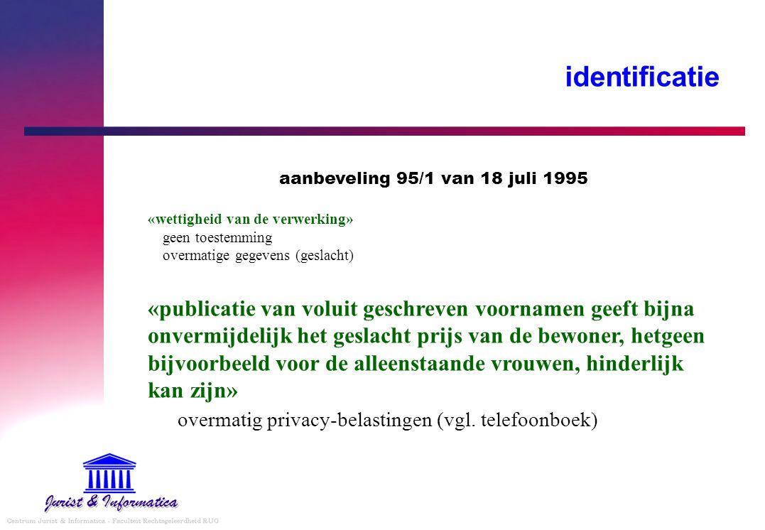 identificatie overmatig privacy-belastingen (vgl. telefoonboek)