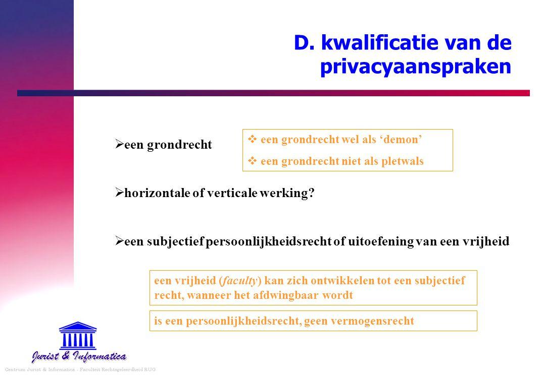 D. kwalificatie van de privacyaanspraken