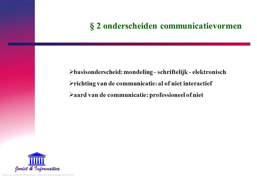 § 2 onderscheiden communicatievormen
