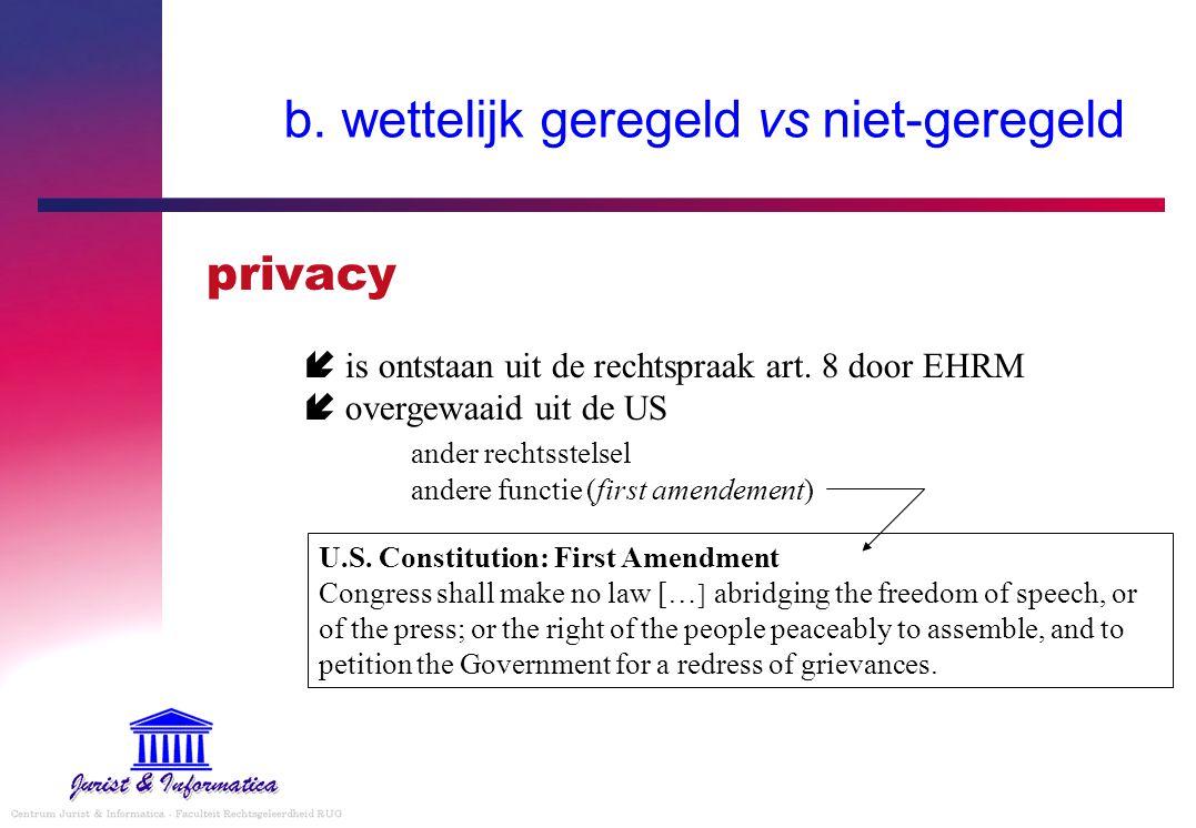 b. wettelijk geregeld vs niet-geregeld