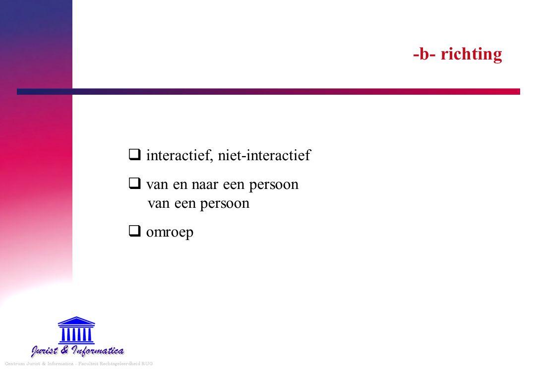 -b- richting interactief, niet-interactief van en naar een persoon van een persoon omroep