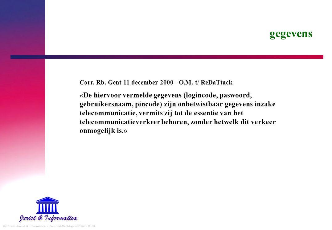 gegevens Corr. Rb. Gent 11 december 2000 - O.M. t/ ReDaTtack.