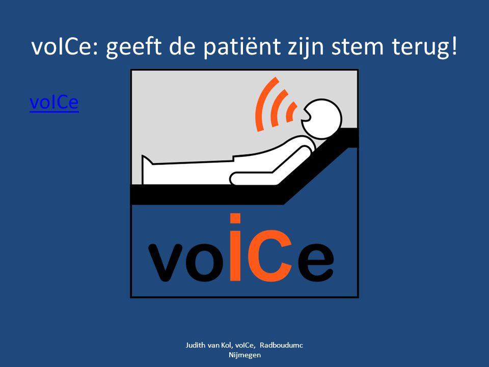 voICe: geeft de patiënt zijn stem terug!