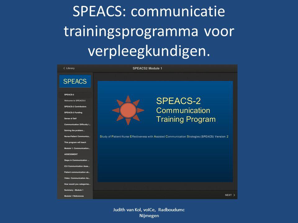SPEACS: communicatie trainingsprogramma voor verpleegkundigen.