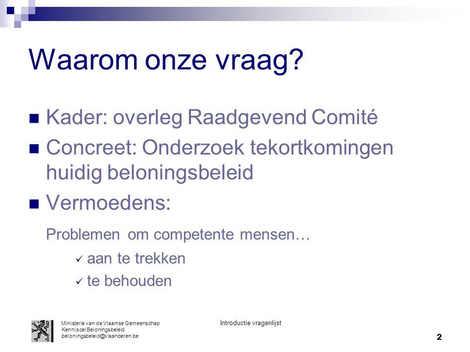 Waarom onze vraag Kader: overleg Raadgevend Comité