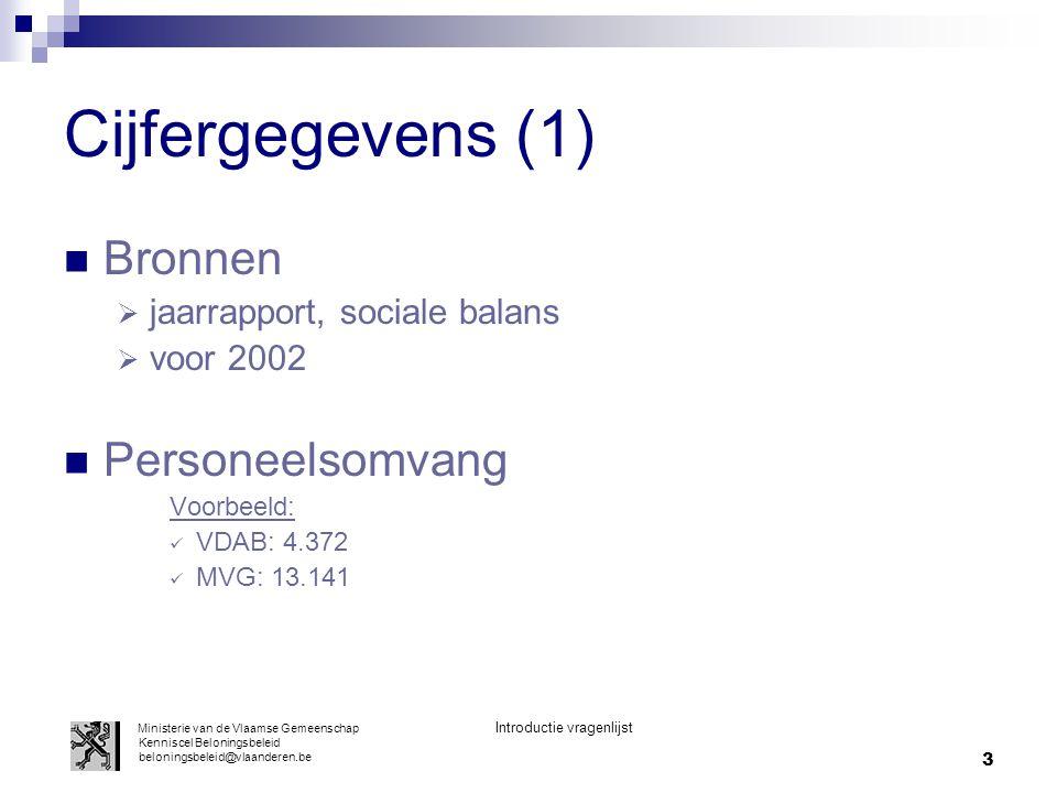 Cijfergegevens (1) Bronnen Personeelsomvang