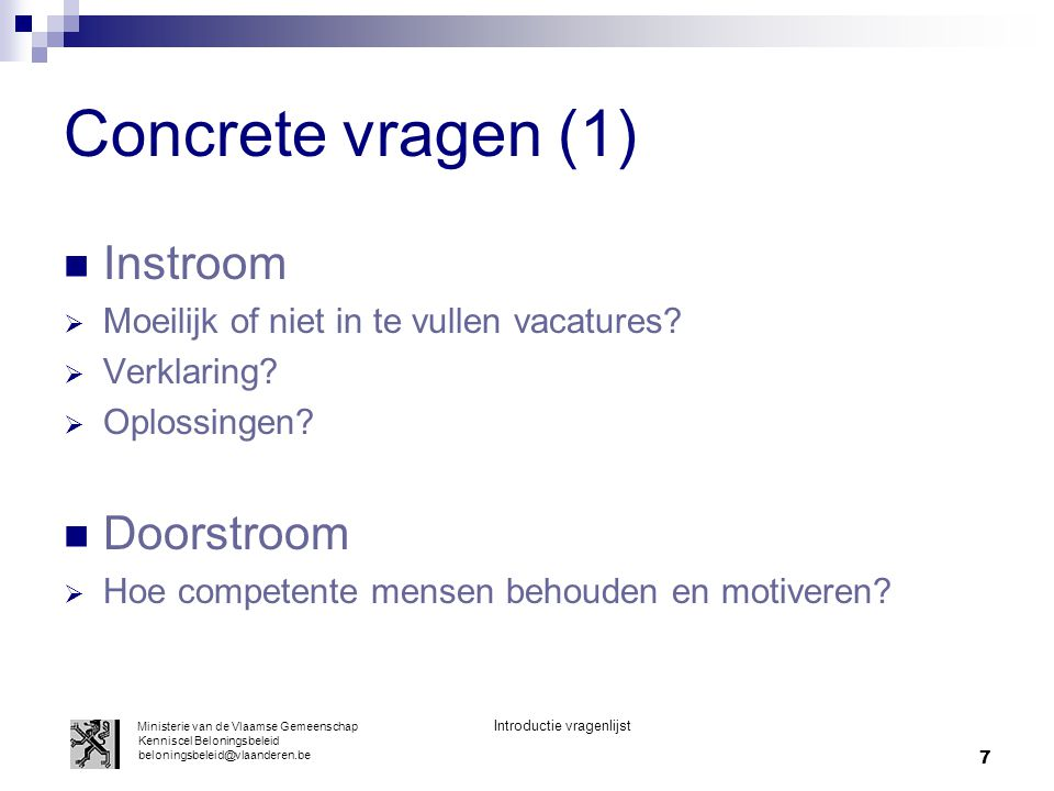 Concrete vragen (1) Instroom Doorstroom