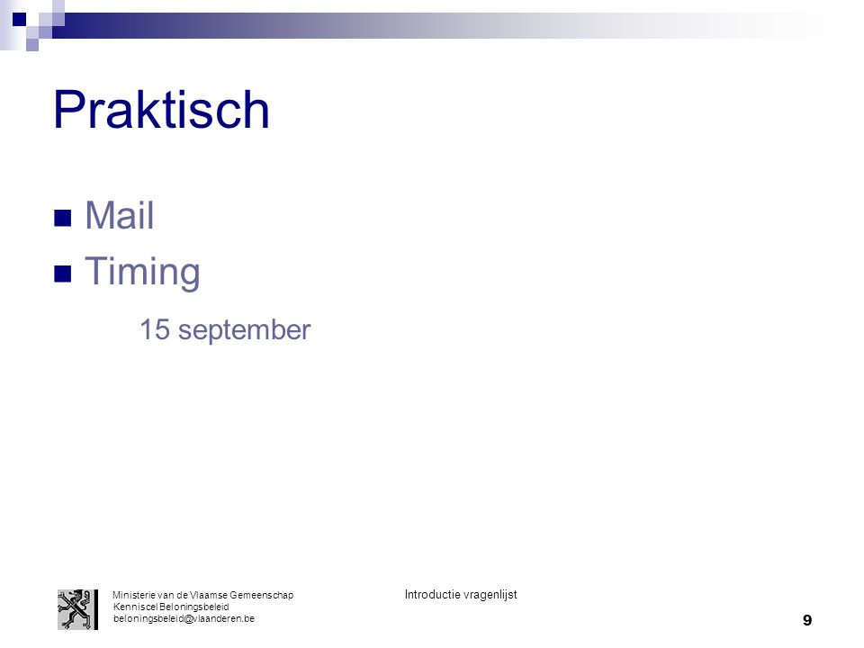 Praktisch Mail Timing 15 september