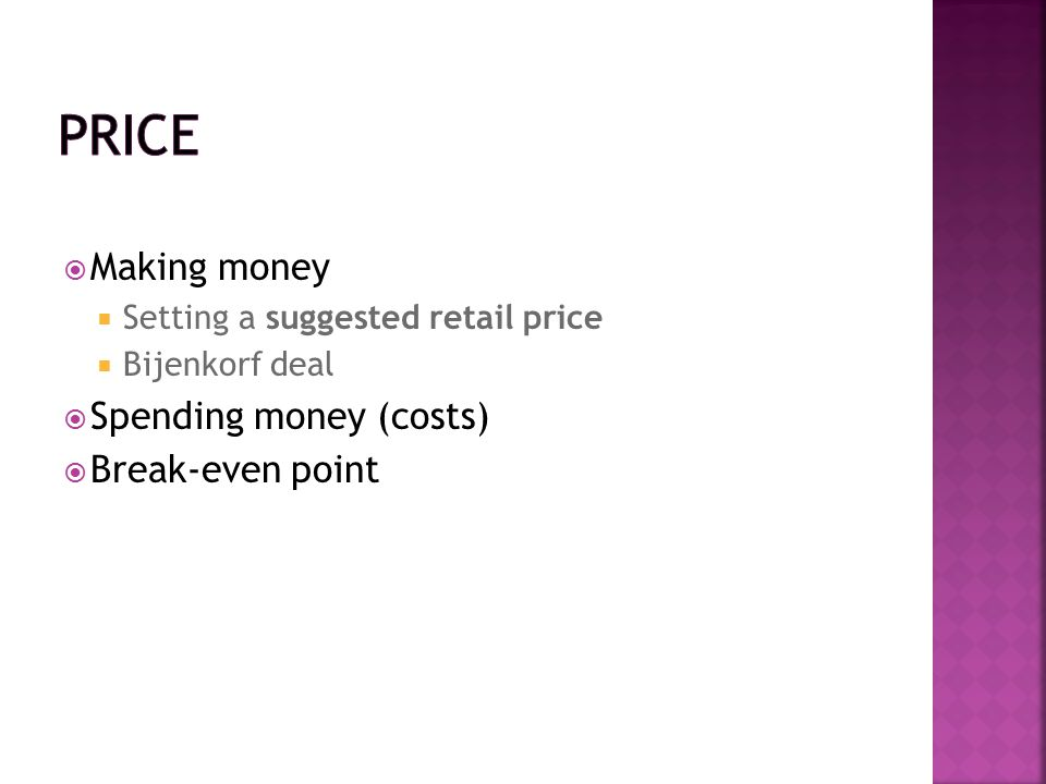 Price Making money Spending money (costs) Break-even point