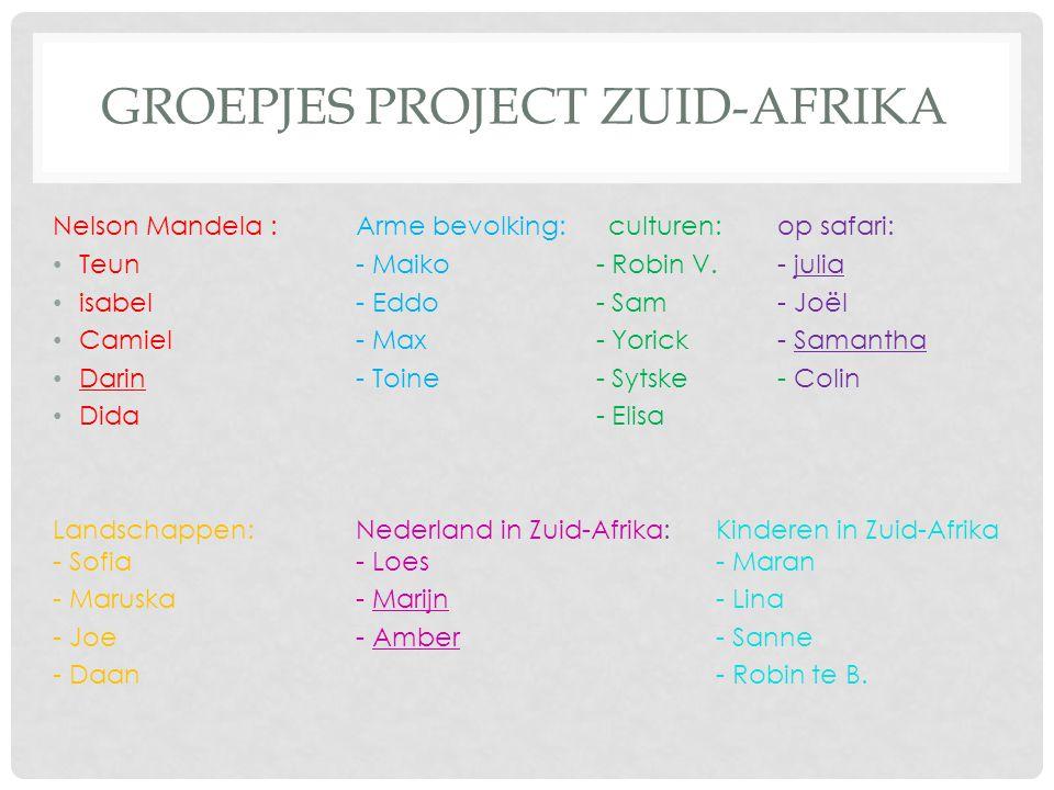 Groepjes project Zuid-Afrika