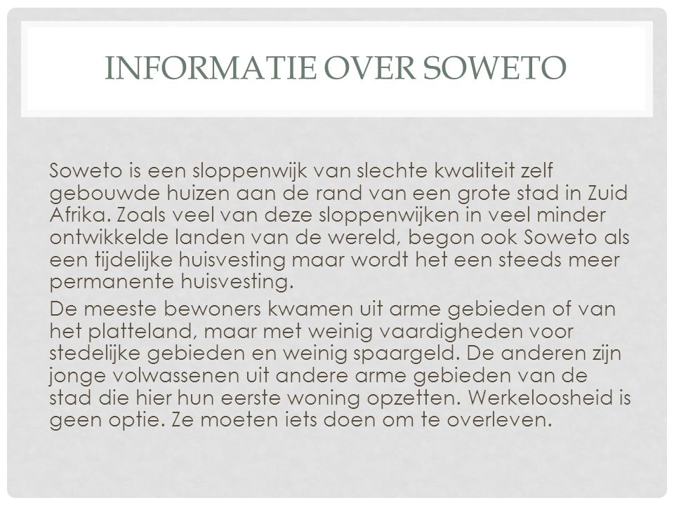 Informatie over soweto