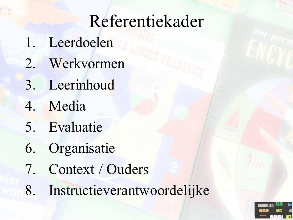 Referentiekader Leerdoelen Werkvormen Leerinhoud Media Evaluatie