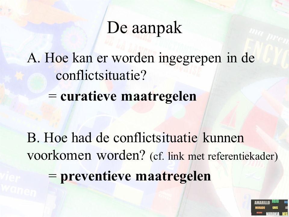 De aanpak A. Hoe kan er worden ingegrepen in de conflictsituatie