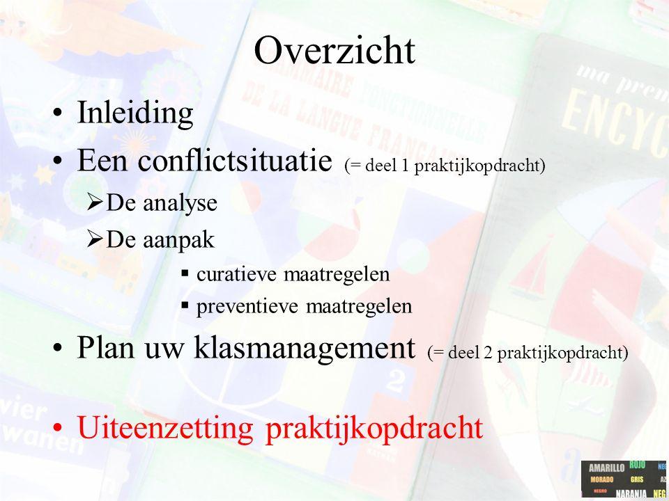 Overzicht Inleiding Een conflictsituatie (= deel 1 praktijkopdracht)