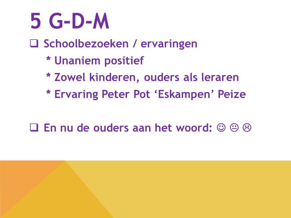 5 G-D-M Schoolbezoeken / ervaringen * Unaniem positief
