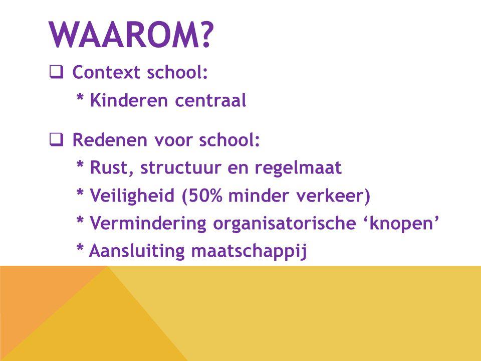 Waarom Context school: * Kinderen centraal Redenen voor school: