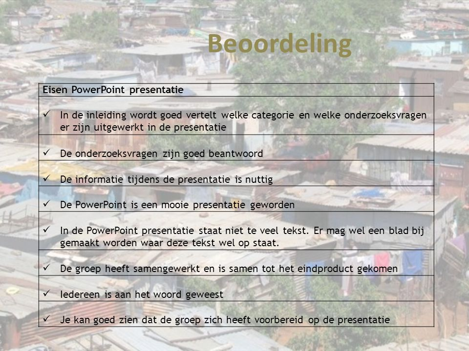 Beoordeling Eisen PowerPoint presentatie
