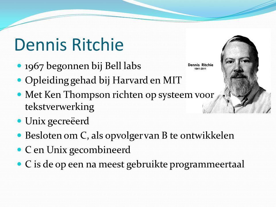 Dennis Ritchie 1967 begonnen bij Bell labs