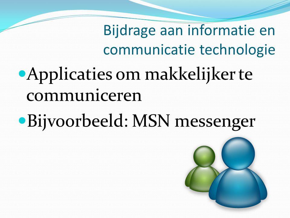 Bijdrage aan informatie en communicatie technologie