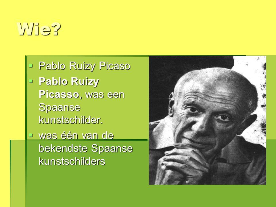 Wie Pablo Ruizy Picaso. Pablo Ruizy Picasso, was een Spaanse kunstschilder. was één van de bekendste Spaanse kunstschilders.