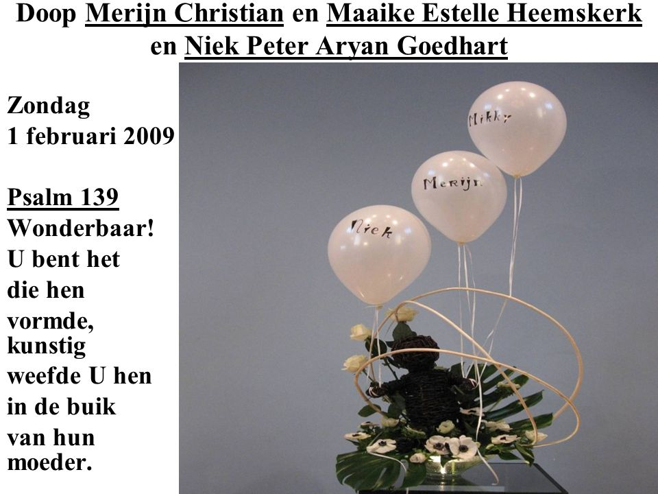 Doop Merijn Christian en Maaike Estelle Heemskerk en Niek Peter Aryan Goedhart