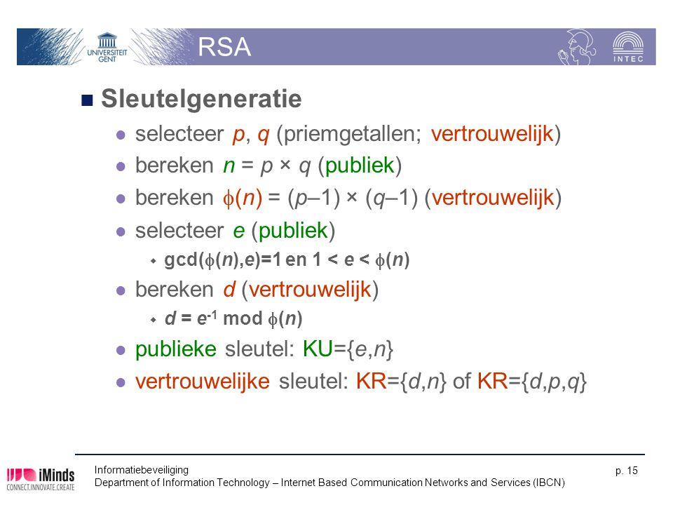RSA Sleutelgeneratie selecteer p, q (priemgetallen; vertrouwelijk)