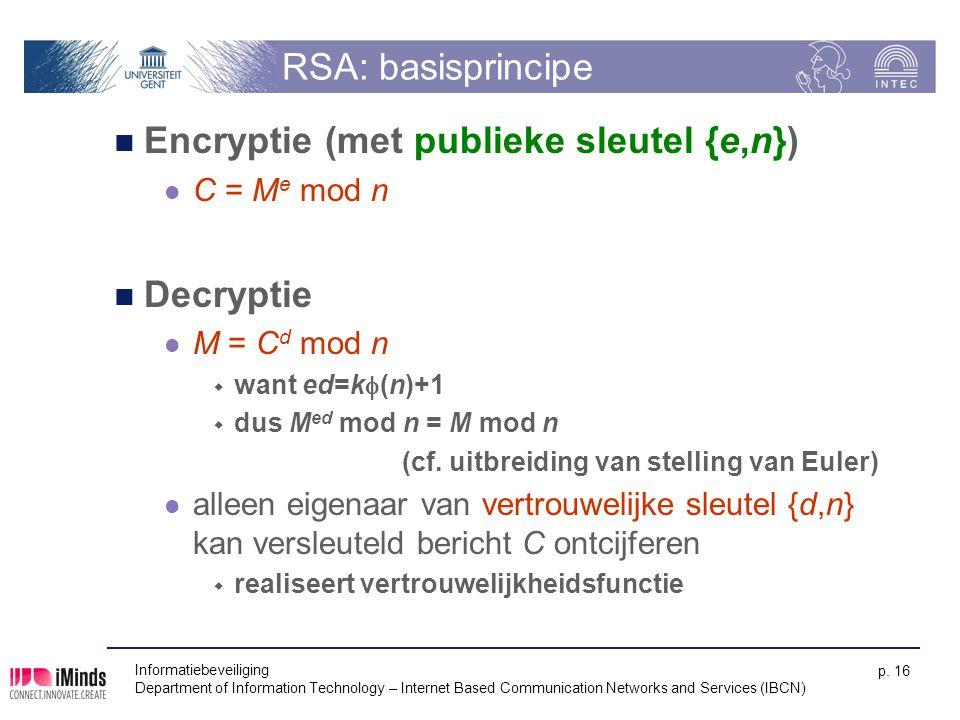 Encryptie (met publieke sleutel {e,n})
