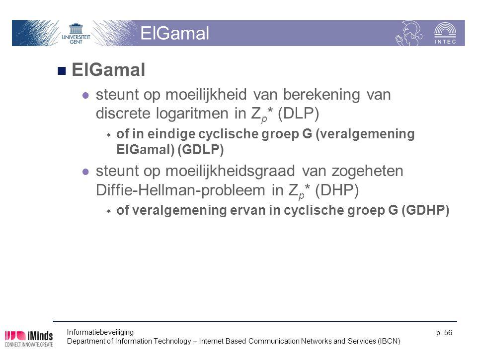 ElGamal ElGamal. steunt op moeilijkheid van berekening van discrete logaritmen in Zp* (DLP)
