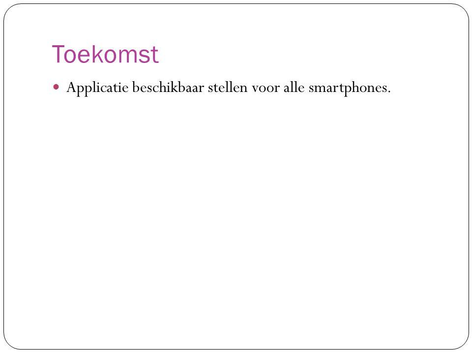 Toekomst Applicatie beschikbaar stellen voor alle smartphones.